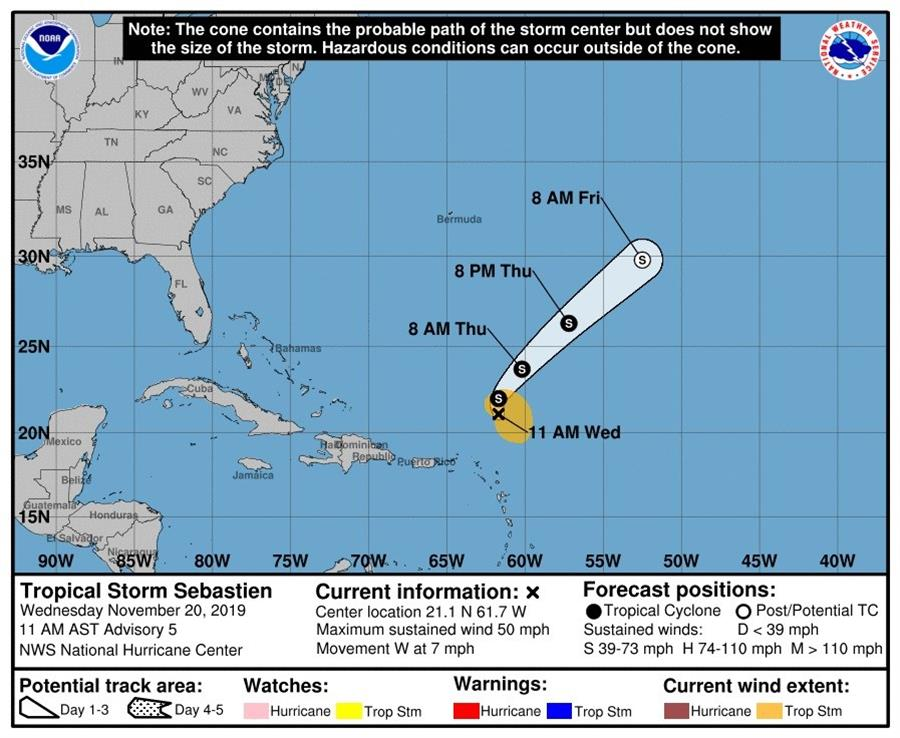 Sebastián se quedará en tormenta tropical