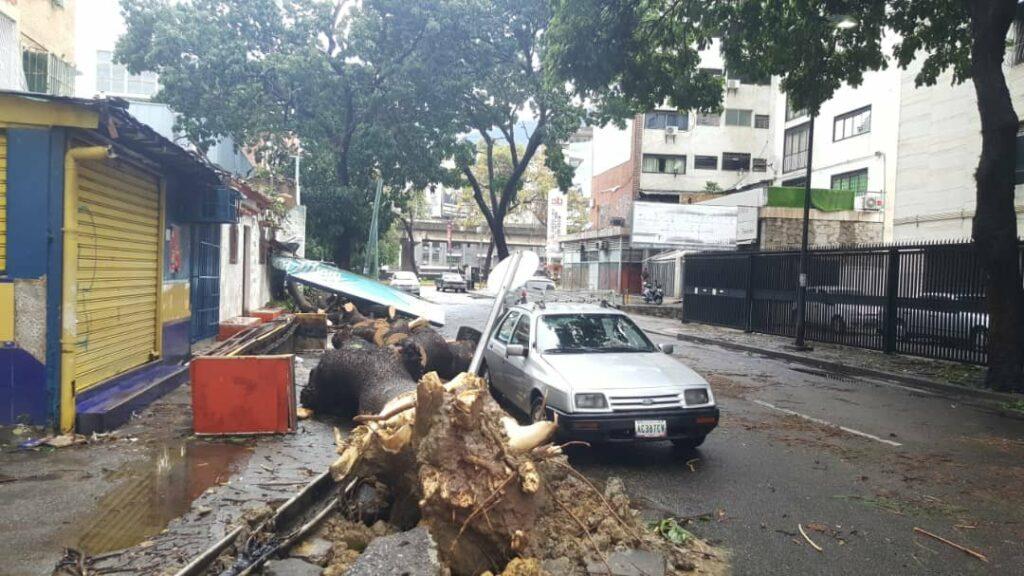 Luvias con fuertes vientos causan estragos en Caracas