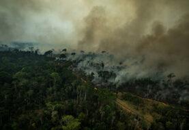 Greenpeace despliega pancarta contra deforestación Amazonía en sede de CE