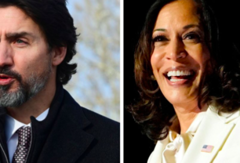 """Justin Trudeau y Kamala Harris tratan sobre covid y """"Comprar Estadounidense"""""""